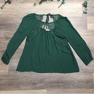 2/$20 Entro Lace Detail Bohemian Green Top